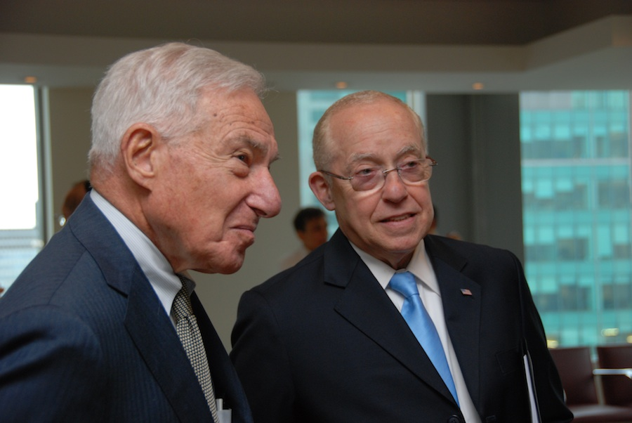 Click photo to download. Caption: America Israel Friendship League (AIFL) Chairman Kenneth Bialkin (left) welcomed former U.S. Attorney General Michael Mukasey to a May 14 New York reunion for members of AIFL judicial missions to Israel. Credit: Maxine Dovere.