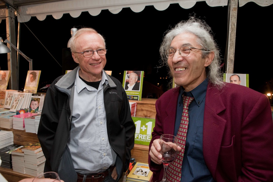 Click photo to download. Caption: Authors David Grossman (left) and Boualem Sansal at the third International Writers Festival in Jerusalem. Sansal, who is from Algeria, encountered pressure not to attend the literary event. Credit: Michal Patel.