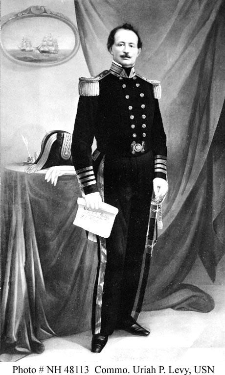 "Click photo to download. Caption: Commodore Uriah Phillips Levy, the first American Jew to attain ""Flag"" rank (commodore was equivalent to rear admiral) just prior to the American Civil War. Credit: U.S. Navy."