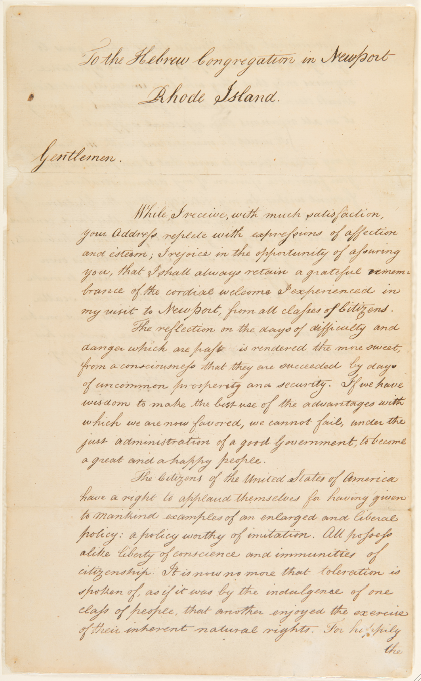 Click photo to download. Caption: George Washington's August 1790 letter to Congregation Jeshuat Israel in Newport, R.I. Credit: The Morris Morgenstern Foundation.