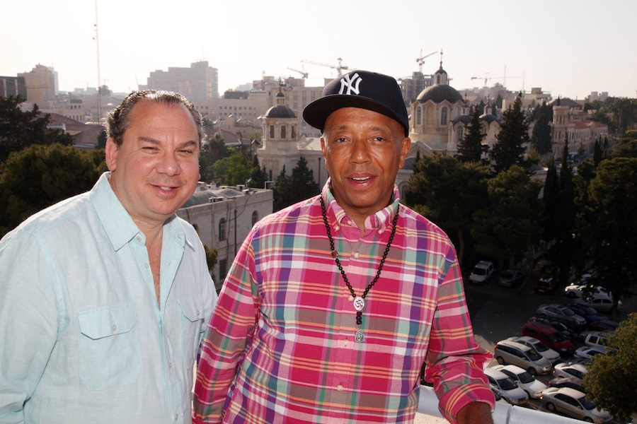 Click photo to download. Caption: Rabbi Marc Schneier and hip-hop mogul Russell Simmons on their recent trip to Israel, during which they promoted Muslim-Jewish dialogue. Credit: Sasson Tiram.
