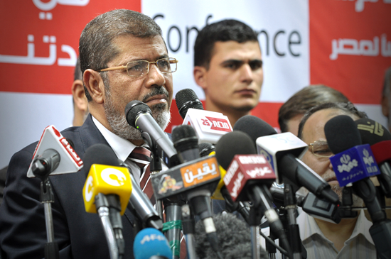 Click photo to download. Caption: Egyptian President Mohammed Morsi at a press conference. Credit: Jonathan Rashad.