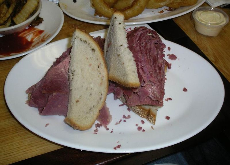 Click photo to download. Caption: Corned beef at the Carnegie Deli. Credit: Wikimedia Commons.