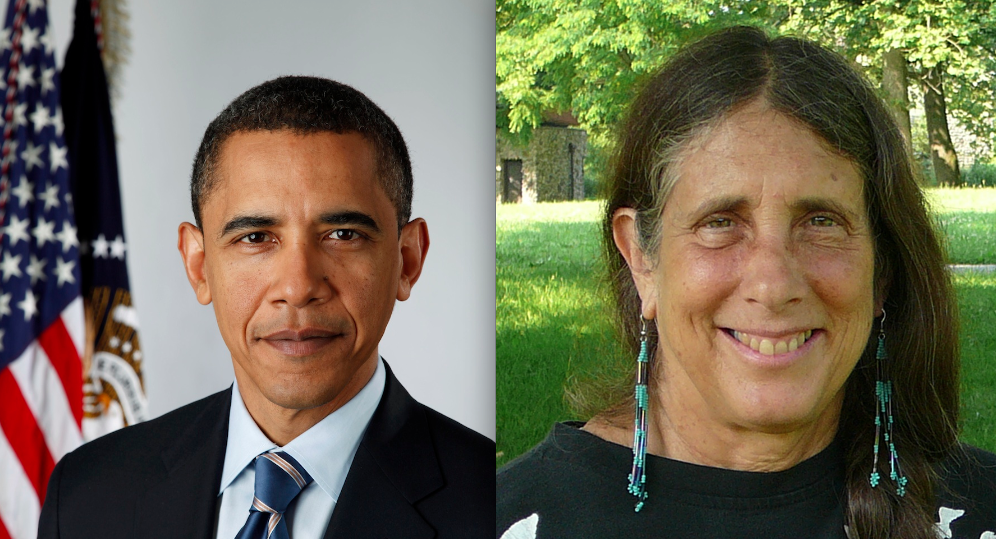 "Click photo to download. Caption: President Barack Obama and Rabbi Lynn Gottlieb of the Jewish Renewal Movement. Gottlieb, who once dialogued with Ahmadinejad and is an advisory board member of the pro-BDS group Jewish Voice for Peace (JVP), is on the new ""Rabbis for Obama"" list endorsing the president. Credit: White House and Jewish Virtual Library."