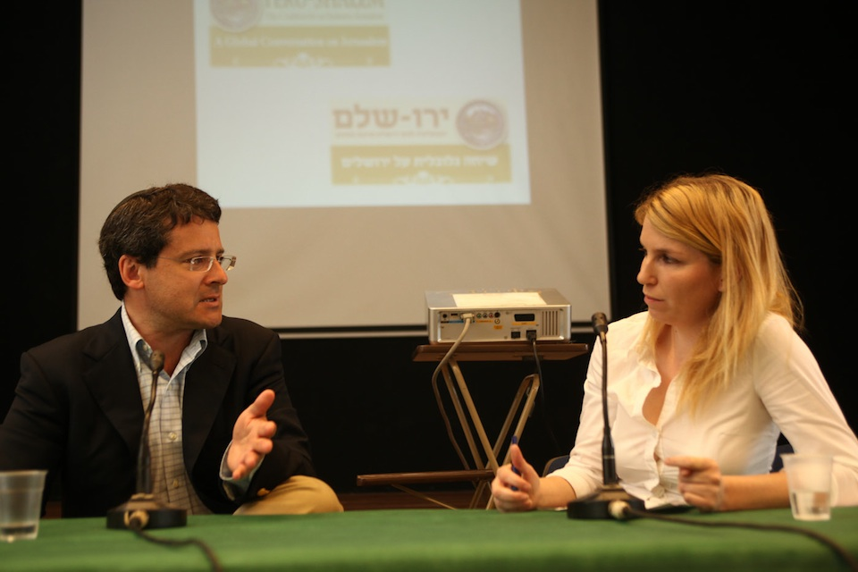 Click photo to download. Caption: At the Yeru-Shalem Coalition's first-ever event on June 22, 2012, new Jerusalem resident and former president and CEO of Timberland Corp., Jeffrey Swartz, discusses social entrepreneurship with Elisheva Mazya, CEO of New Spirit (Ruach Hadasha). Credit: Studio Adler Photography.