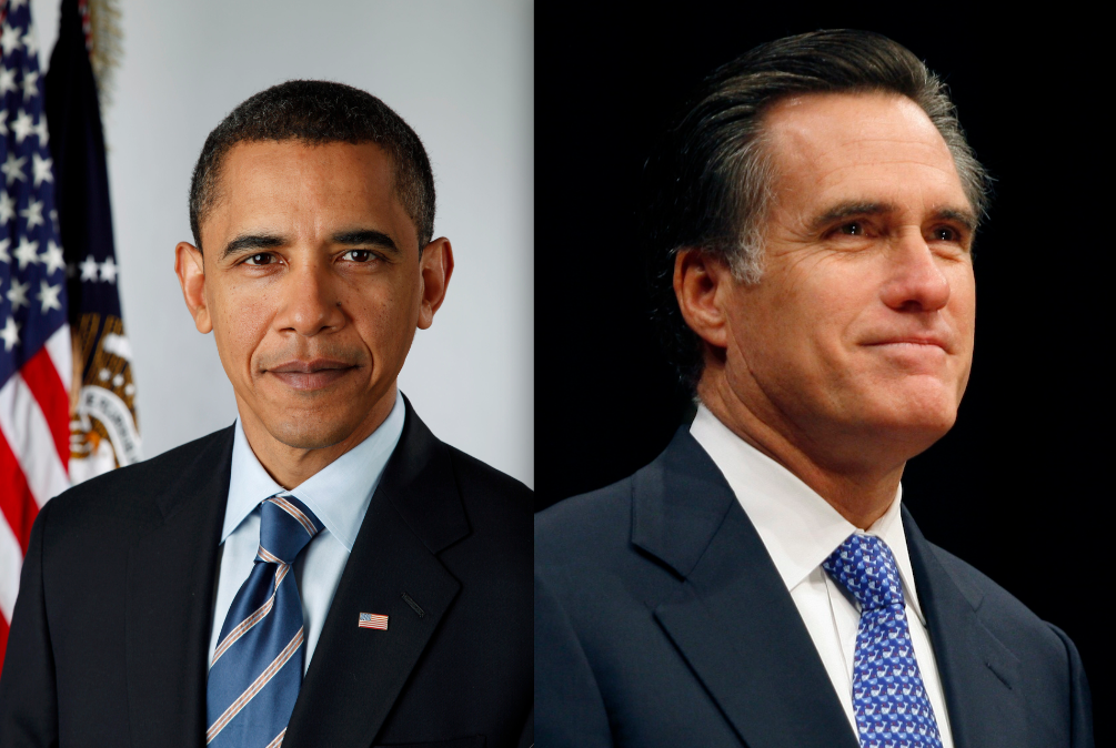 Click photo to download. Caption: Barack Obama and Mitt Romney. Credit: White House and Gage Skidmore.