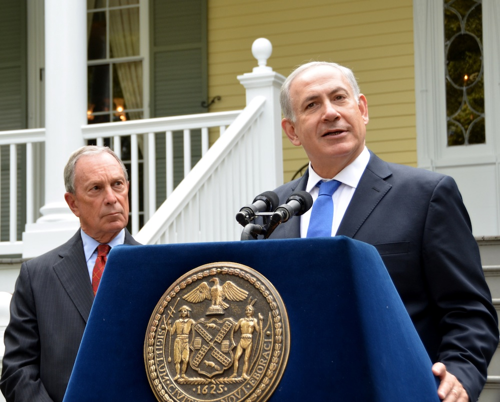 Click photo to download. Caption: Prime Minister Benjamin Netanyahu, with New York Mayor Michael Bloomberg looking on, speaks at a briefing at Gracie Mansion in Manhattan Sept. 27, the same day he addressed the United Nations. Credit: Maxine Dovere.