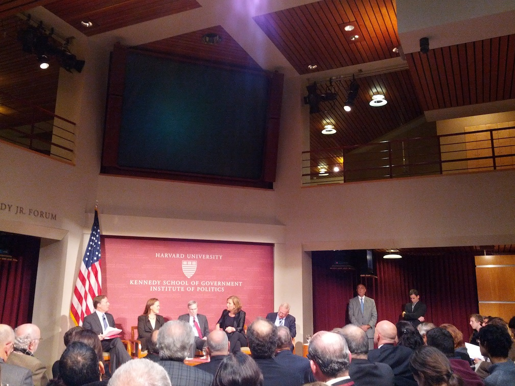 Click photo to download. Caption: An Oct. 11 Harvard University panel of Middle East experts from the U.S. and Israel. Credit: Sean Savage.