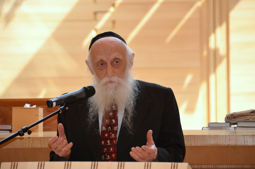 Click photo to download. Caption: Rabbi Dr. Abraham Twerski speaks in East Hampton, NY this summer. Credit: Maxine Dovere.