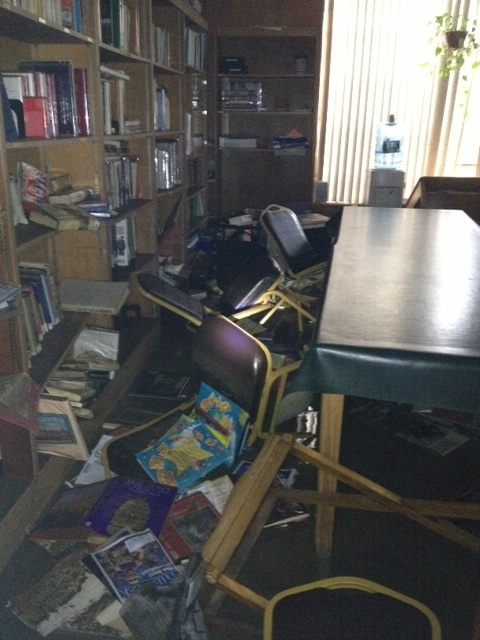 Click photo to download. Caption: The library of West End Temple in Neponsit, NY, following Sandy. Credit: Courtesy Marjorie Slome.