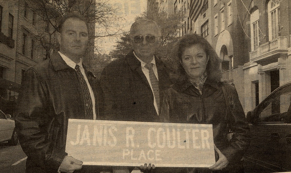 Click photo to download. Caption: Janis Coulter's brother, Robert Jr. (left) with her father, Robert Sr., and sister, Diane Coulter Albert, at the 2002 street naming ceremony. Credit: New York Jewish Week.