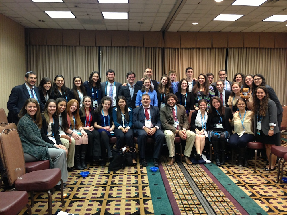Click photo to download. Caption: Jewish Federations of North America (JFNA) President and CEO Jerry Silverman (front row, center) with young leaders at the 2012 JFNA General Assembly. Credit: Submitted photo.