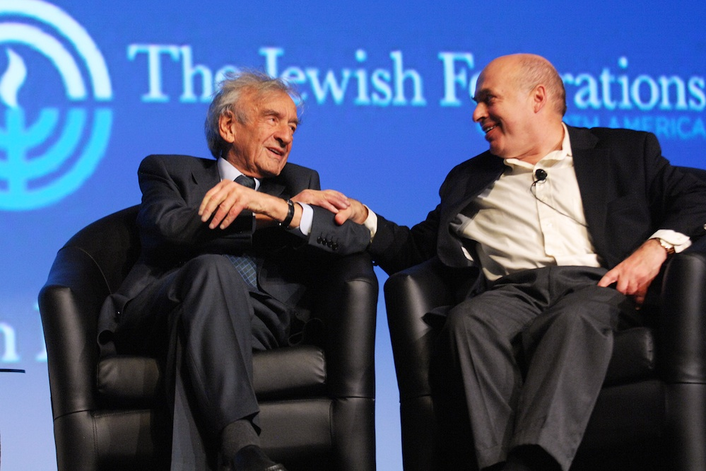 Click photo to download. Caption: Elie Wisel and Natan Sharansky on stage during the Jewish Federations of North America (JFNA) General Assembly on Monday. Credit: Robert A. Cumins for JFNA.