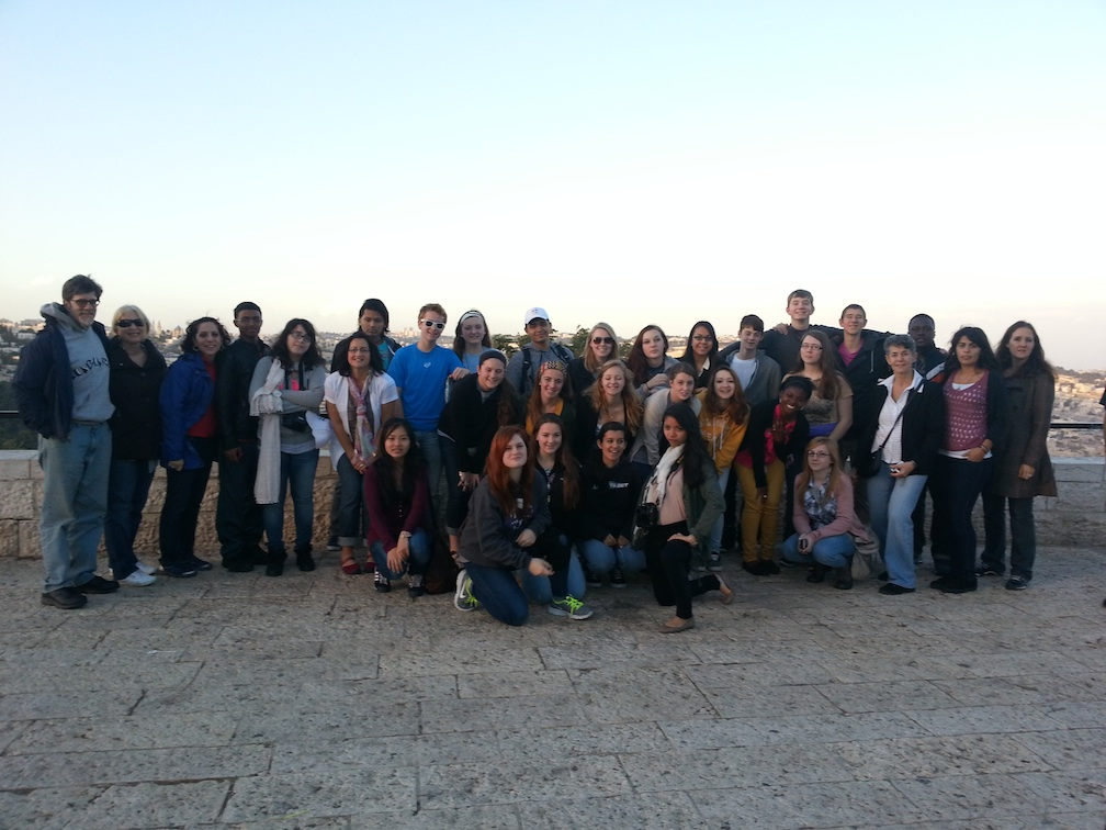 Click photo to download. Caption: The Youth Ambassadors Student Exchange contingent from America pictured just after landing in Israel. Credit: Provided photo.