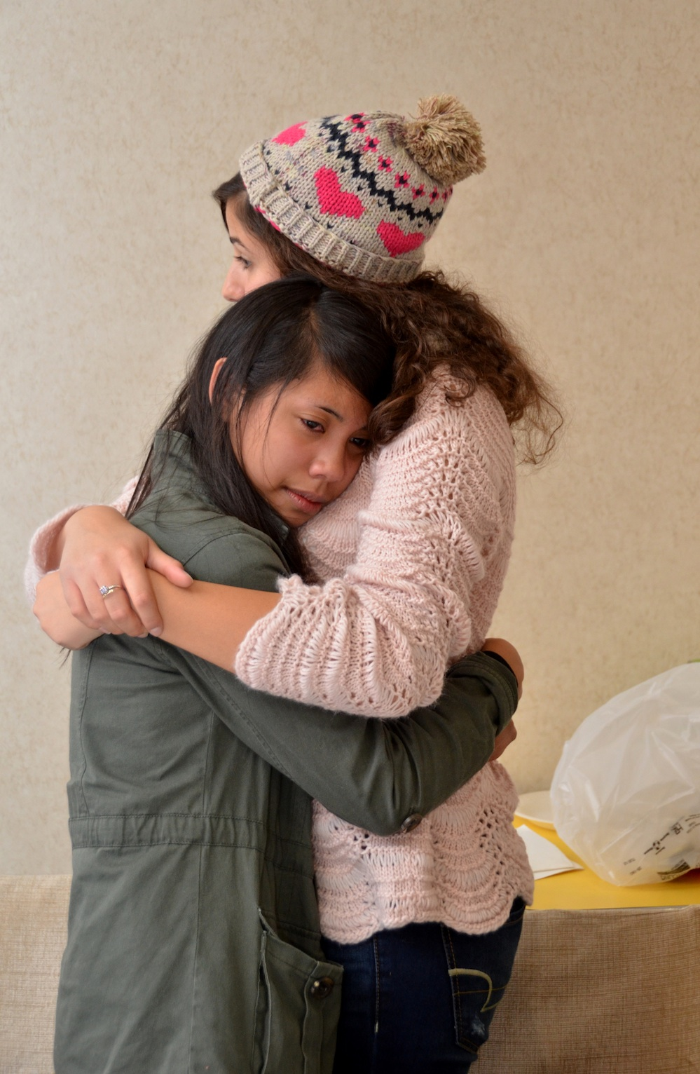 Click photo to download. Caption: Emotions ran high at the Youth Ambassadors Student Exchange (YASE) farewell luncheon in New York earlier this month. After two weeks of studying, traveling, learning and experiencing Hurricane Sandy together, lifelong friendships began to grow. Credit: Maxine Dovere.