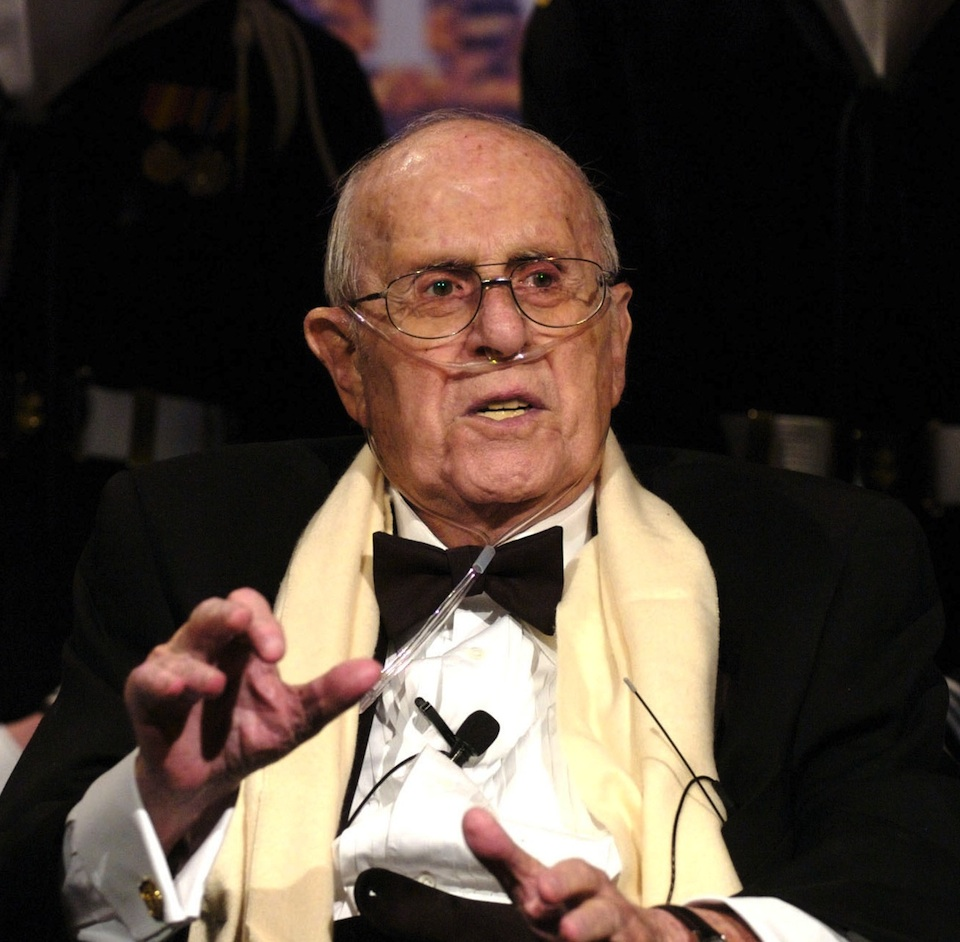 Click photo to download. Caption: Legendary Jewish basketball coach Red Auerbach speaks after being honored with the 2006 Lone Sailor Award by the United States Navy Memorial. He died three days later. Credit: United States Navy.