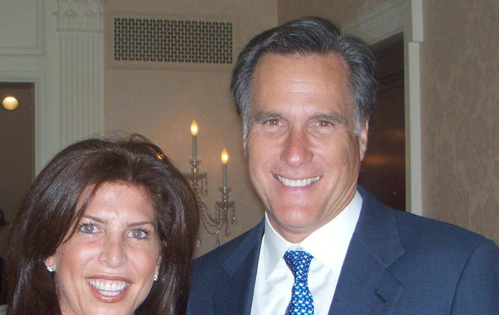 Click photo to download. Caption: Mitt Romney with his Director of Jewish Outreach, Lisa Spies. Credit: Courtesy Lisa Spies.