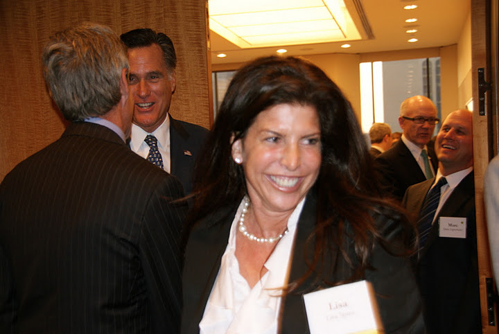 Click photo to download. Caption: Lisa Spies at a New York event for Mitt Romney, with Romney in the background (back, left). Credit: Courtesy Lisa Spies.