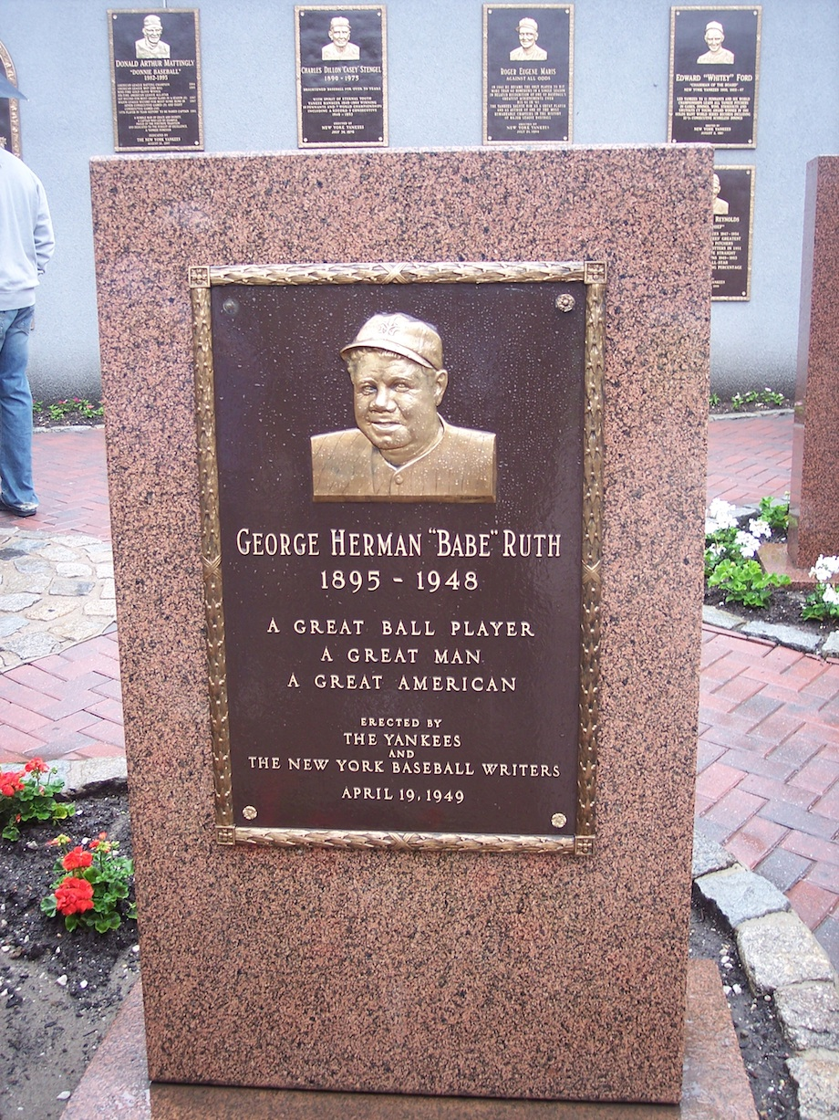 Click photo to download. Caption: Babe Ruth's plaque in Monument Park in Yankee Stadium. Credit: Wikimedia Commons.