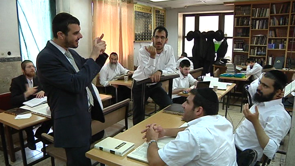"""Click photo to download. Caption: Inside Yosef Tolidano's kollel for the deaf in Jerusalem, called Ma'aseh Nissim (which means """"the maker of miracles""""). Credit: Courtesy Ma'aseh Nissim."""
