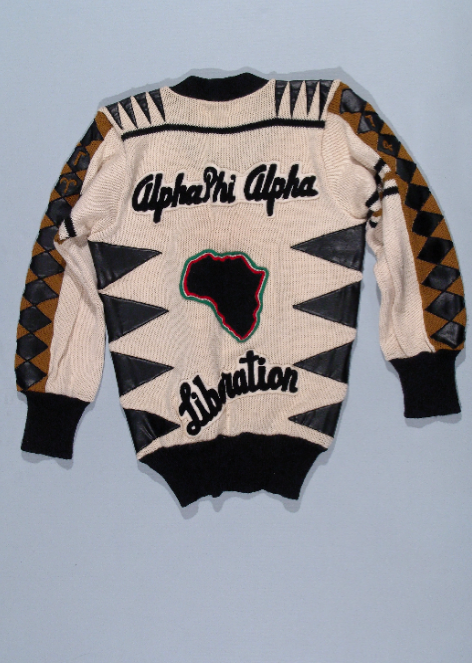 Click photo to download. Caption: Donald Cunnigen's Alpha Phi Alpha Fraternity sweater from Tougaloo College, ca. 1970–1974. Cunnigen was a member of a black fraternity during his time at Tougaloo College in Mississippi. Social life at a black college was similar to student life at white colleges and universities. Credit: Collection of Dr. Donald Cunnigen