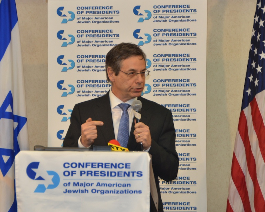 Click photo to download. Caption: Danny Ayalon speaks to the Conference of Presidents of Major American Jewish Organizations Jan. 10. Credit: Maxine Dovere.