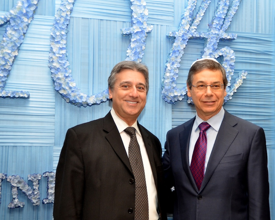 Click photo to download. Caption: Rabbi Dr. Elie Abadi (left) with Danny Ayalon at New York's Safra synagogue this month. Credit: Maxine Dovere.
