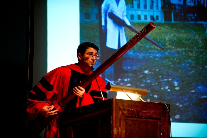 Click photo to download. Caption: University of Chicago's Prof. Aaron Dinner with his Latke 2010 potato gun at the school's latke-hamatash debate that year. Courtesy Daniel J. Libenson.