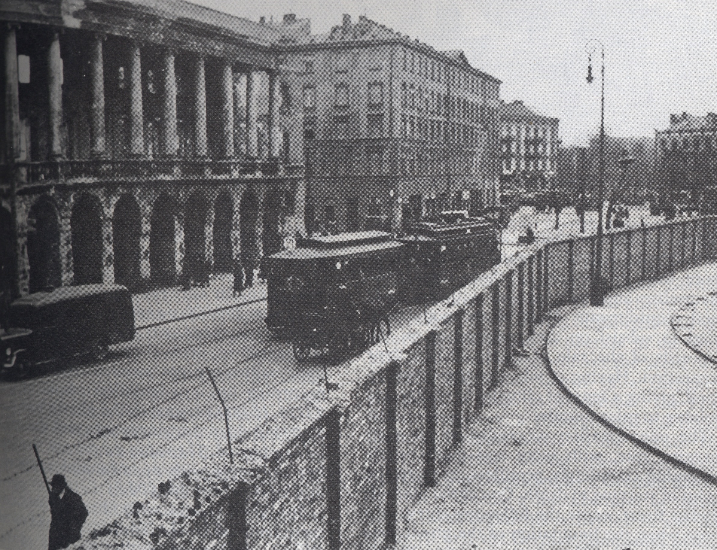 Click photo to download. Caption:Part of the wall surrounding the Warsaw Ghetto.Credit:Photo courtesy of The David S. Wyman Institute for Holocaust Studies.