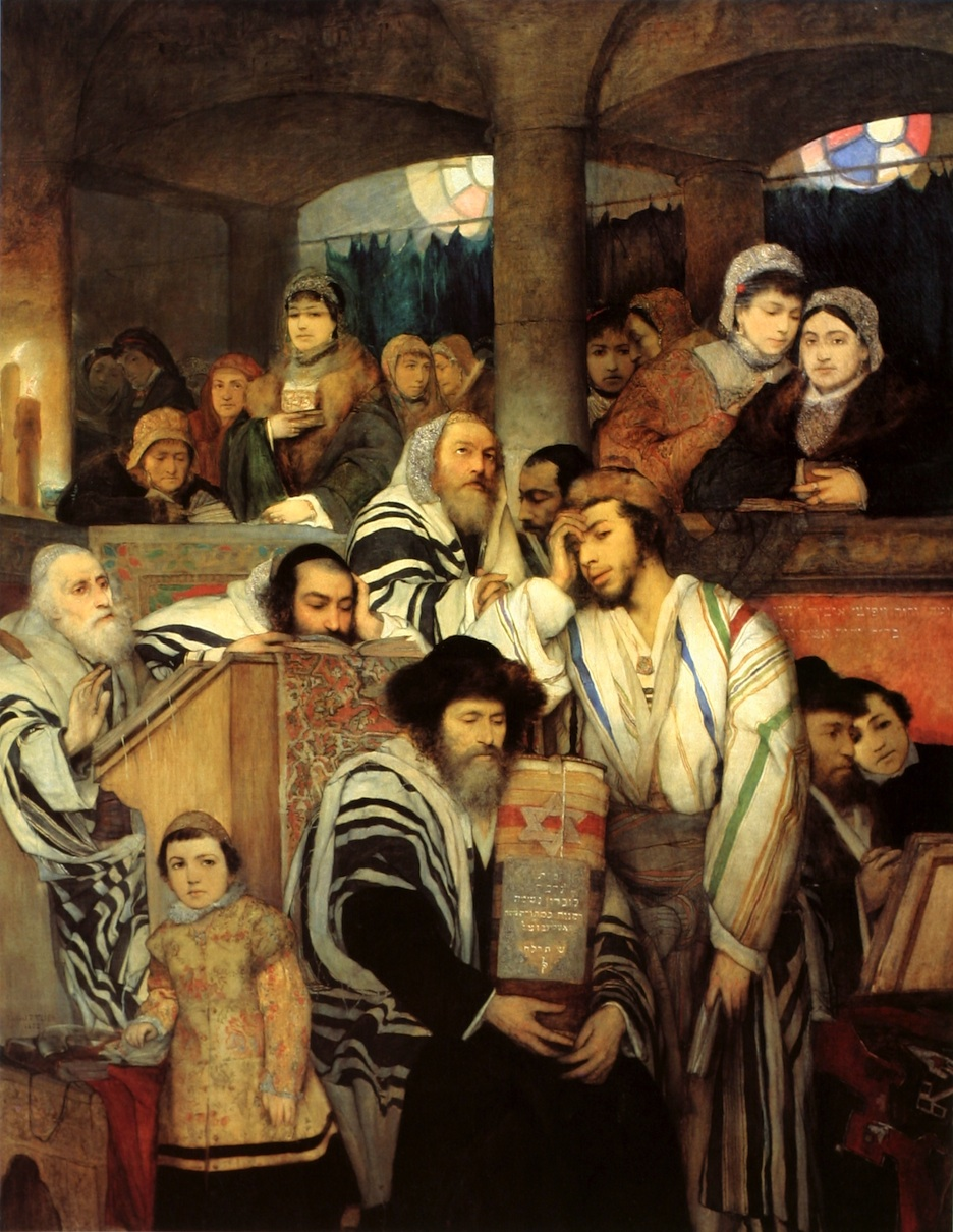 Click photo to download. Caption: Jews praying in synagogue on Yom Kippur. Credit: Wikimedia Commons.