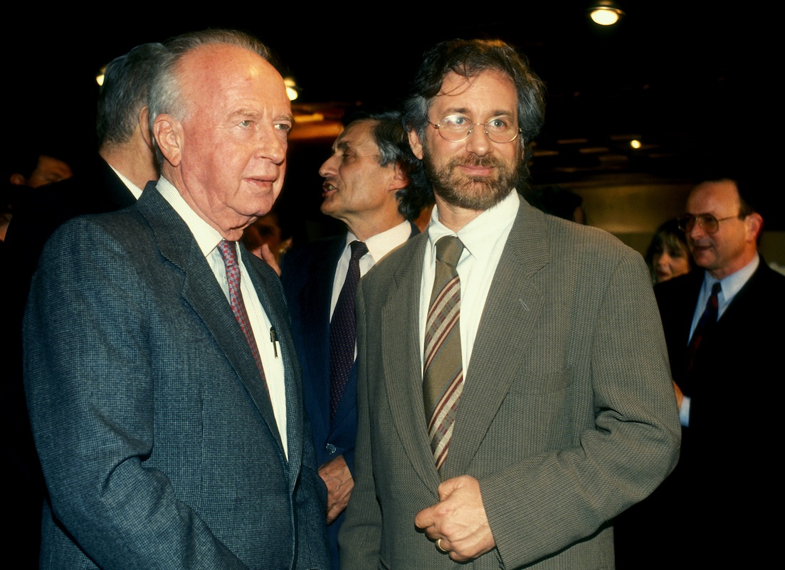 Click photo to download. Caption: Late Israeli Prime Minister Yitzhak Rabin stands with American film director Steven Spielberg (right) on Sept. 16, 1994. Credit: Moshe Shai/FLASH90.