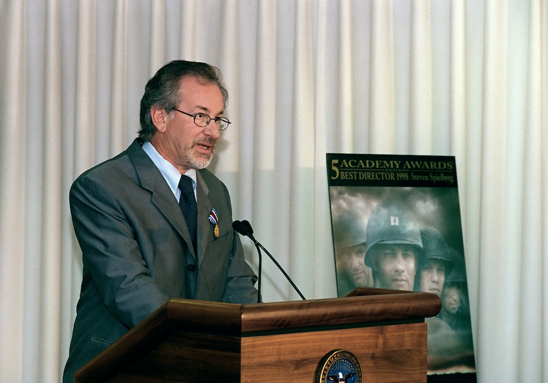 Click photo to download. Caption: Director Steven Spielberg speaking at the Pentagon on August 11, 1999. Credit: Department of Defense.