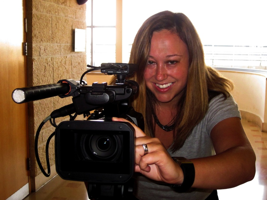 """Click photo to download. Caption: Liz Nord, creator of the forthcoming documentary """"Battle for Jerusalem,"""" films in Jerusalem city hall. Credit: Courtesy Liz Nord."""