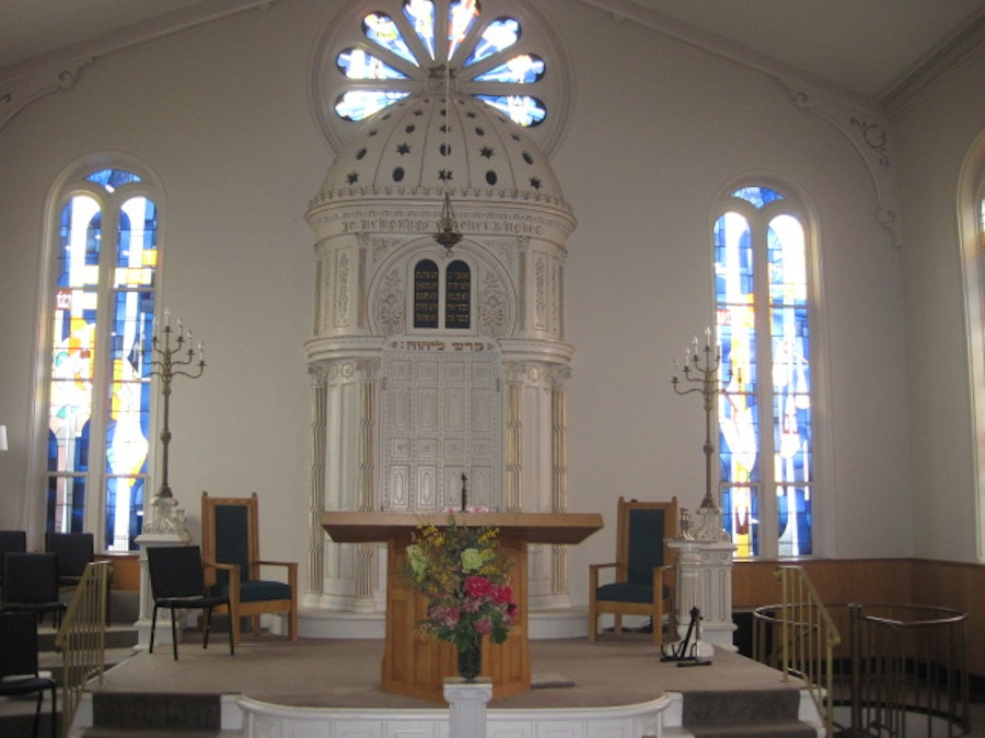 Click photo to download. Caption: Inside Congregation Berith Sholom of Troy, NY. Credit: Paul Foer.