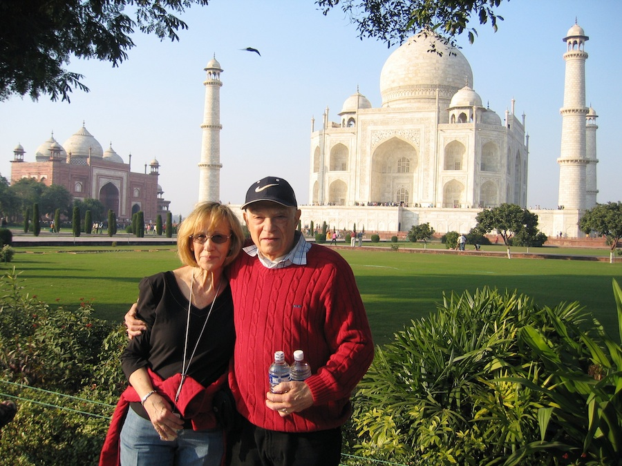 """Click photo to download. Caption: Ben G. Frank, author of """"The Scattered Tribe,"""" with his wife Riva in front of the Taj Mahal, Agra, India. Credit: Ben G. Frank."""