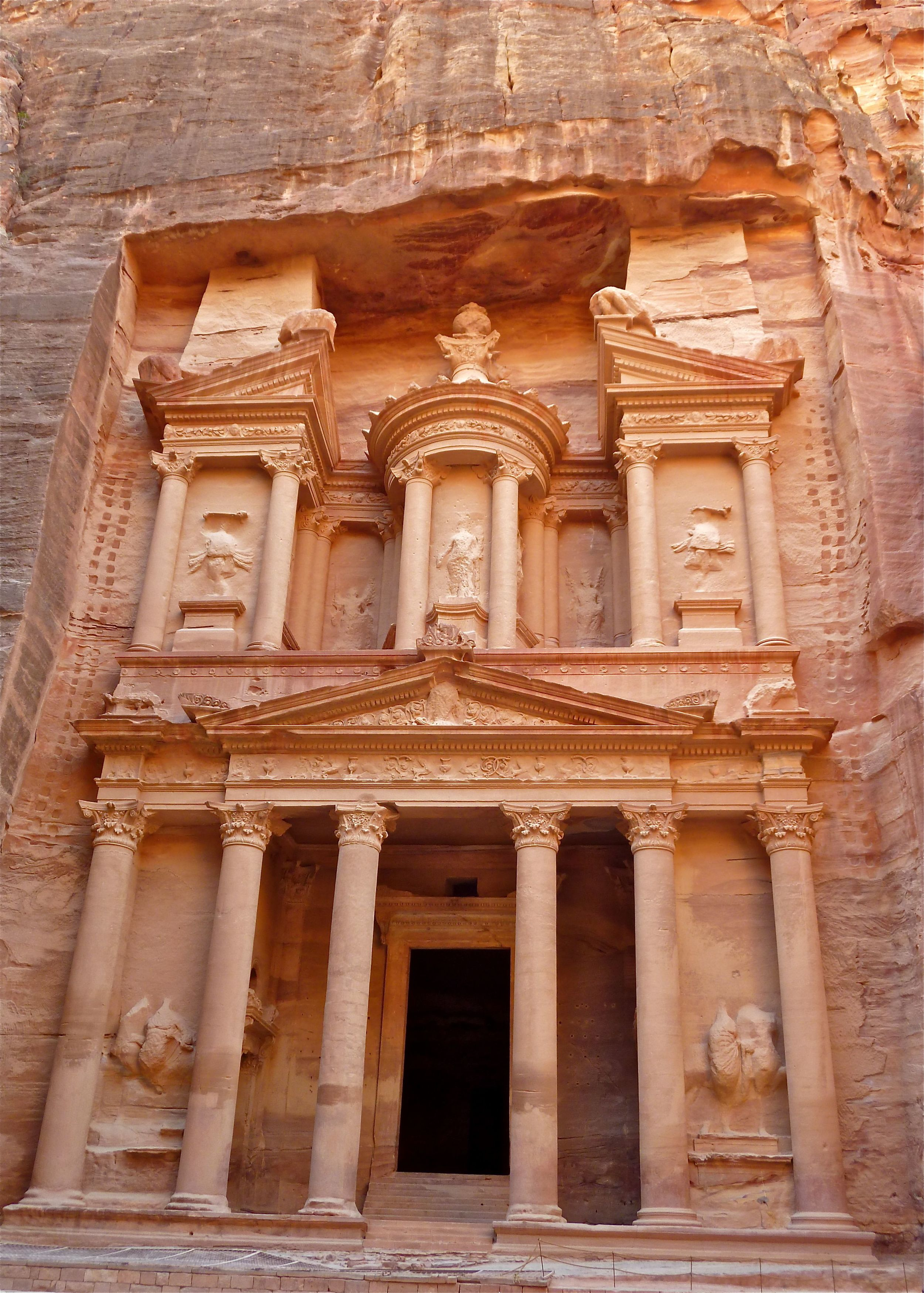 """Click photo to download. Caption: Carved into a cliff face in the early 1st century, and featured heavily in Indiana Jones, the """"Treasury"""" is one of Petra's main attractions. Credit: Masada Siegel."""