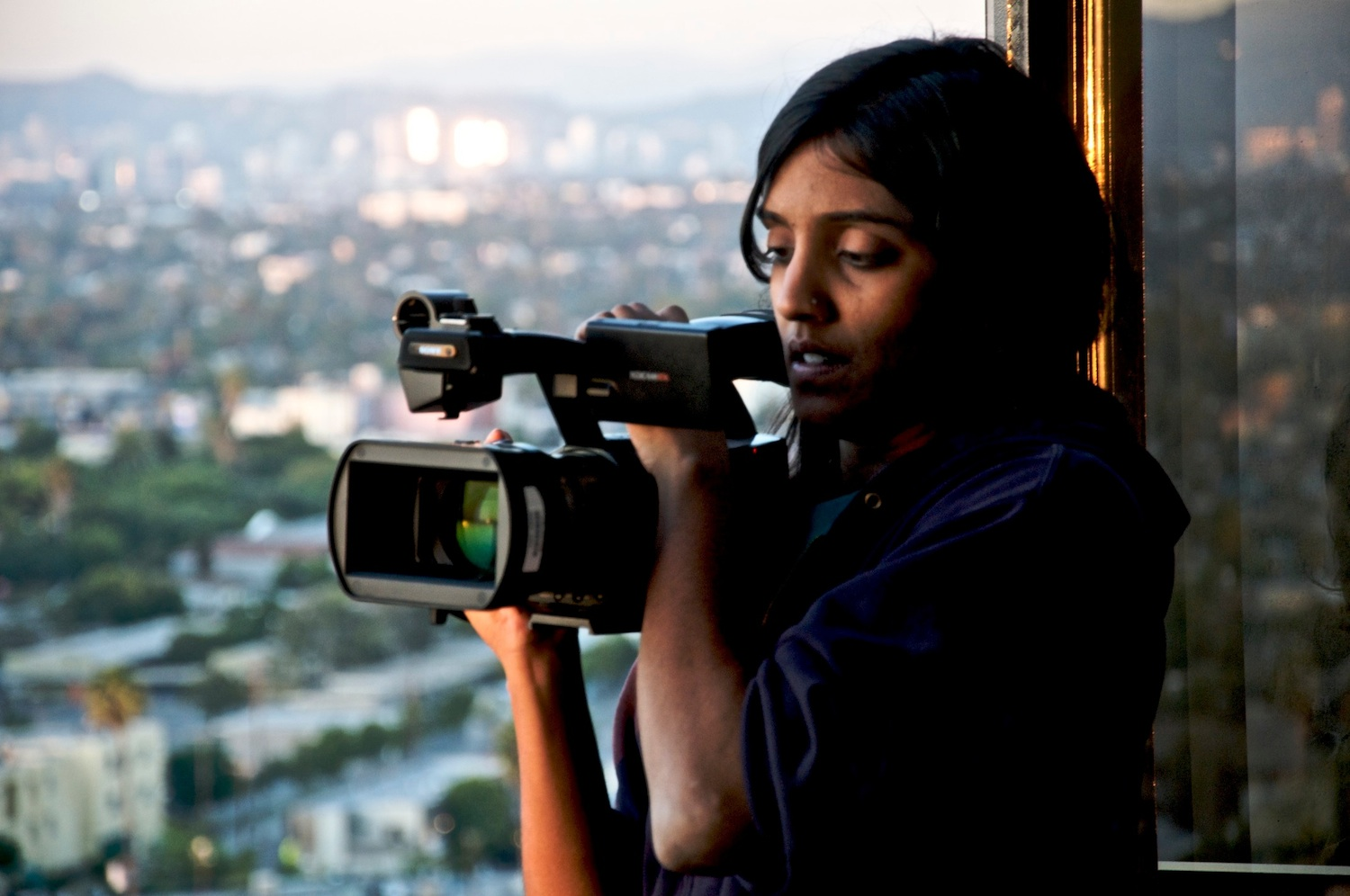 "Click photo to download. Caption: Meera Menon, the first winner of the Tribeca Film Festival's Nora Ephron Prize for ""Farah Goes Bang."" Credit: Jim Dobson."