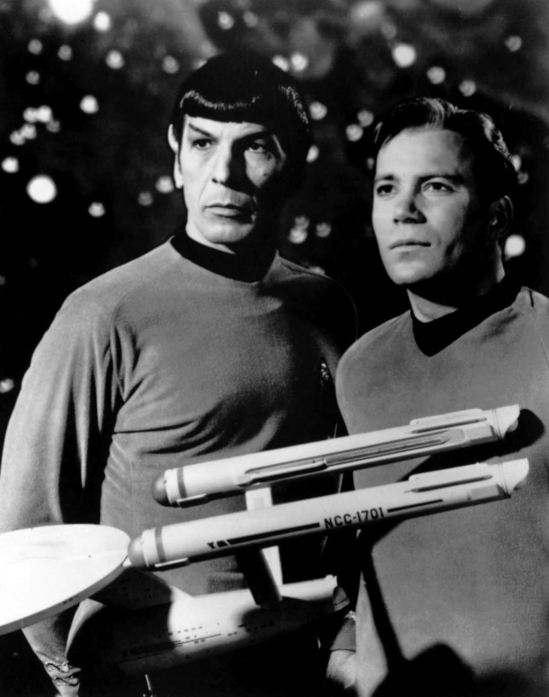 "Click photo to download. Caption: Leonard Nimoy and William Shatner as Mr. Spock and Captain Kirk from the television program ""Star Trek"" in 1968. Credit: NBC Television."