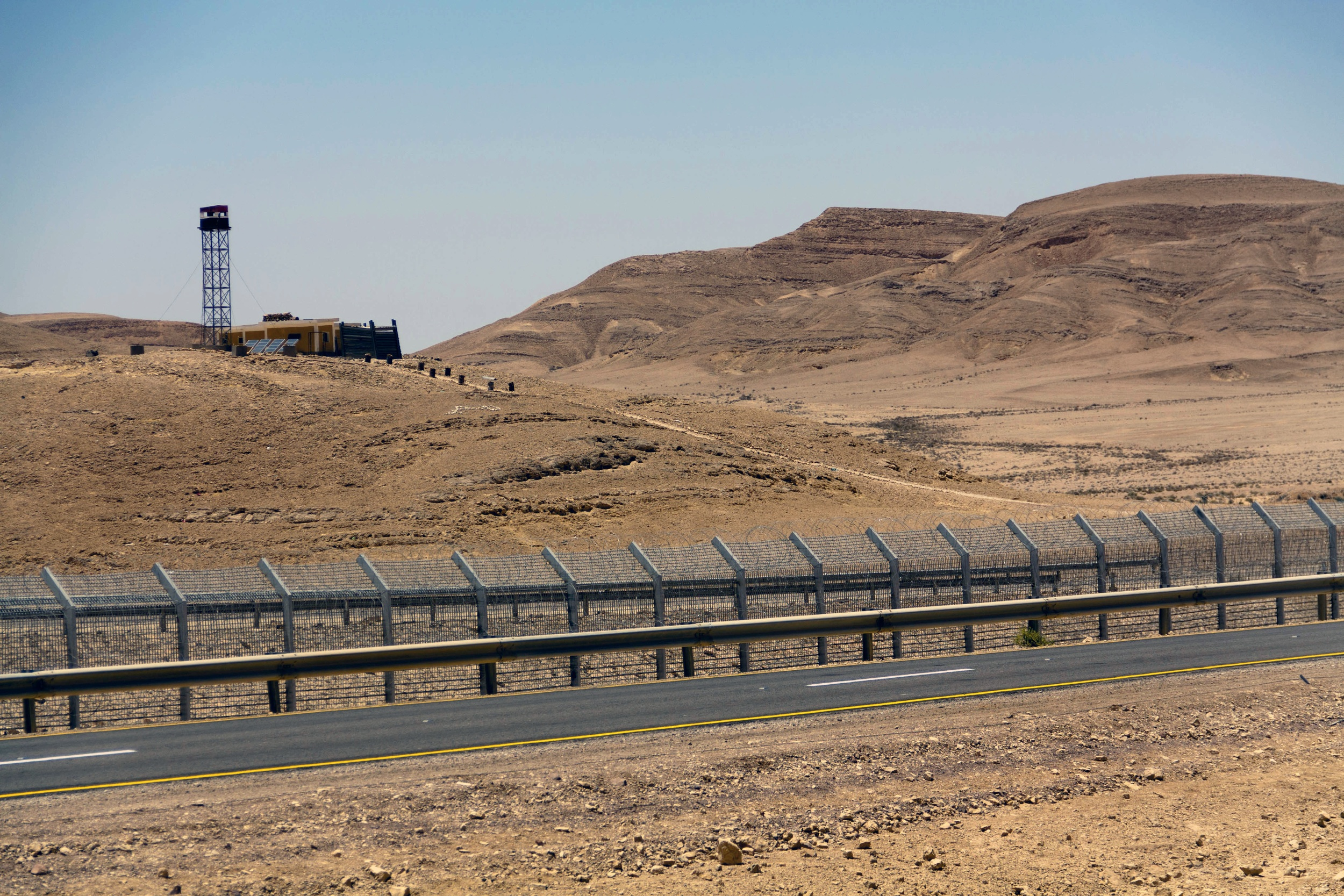 Click photo to download. The security fence along the Israel-Egypt border, built in 2012. Israel is monitoring the situation in the Sinai region amid turmoil in Egypt following president Mohamed Morsi's ouster. Credit: Idobi via Wikimedia Commons.