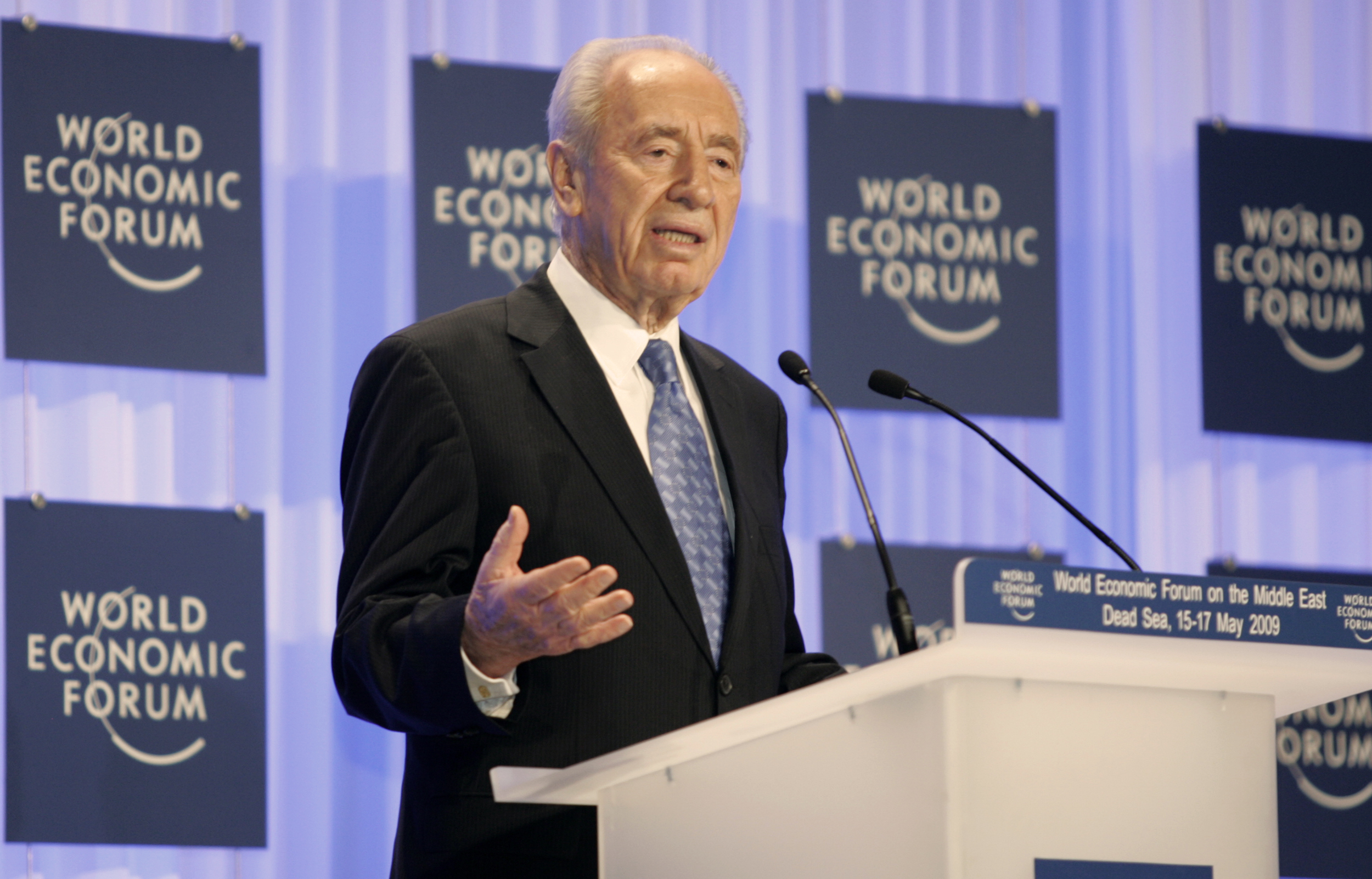 Israeli President Shimon Peres, pictured, attended the opening of a Latvia Holocaust museum honoring a couple that hid Jews. Credit: World Economic Forum.