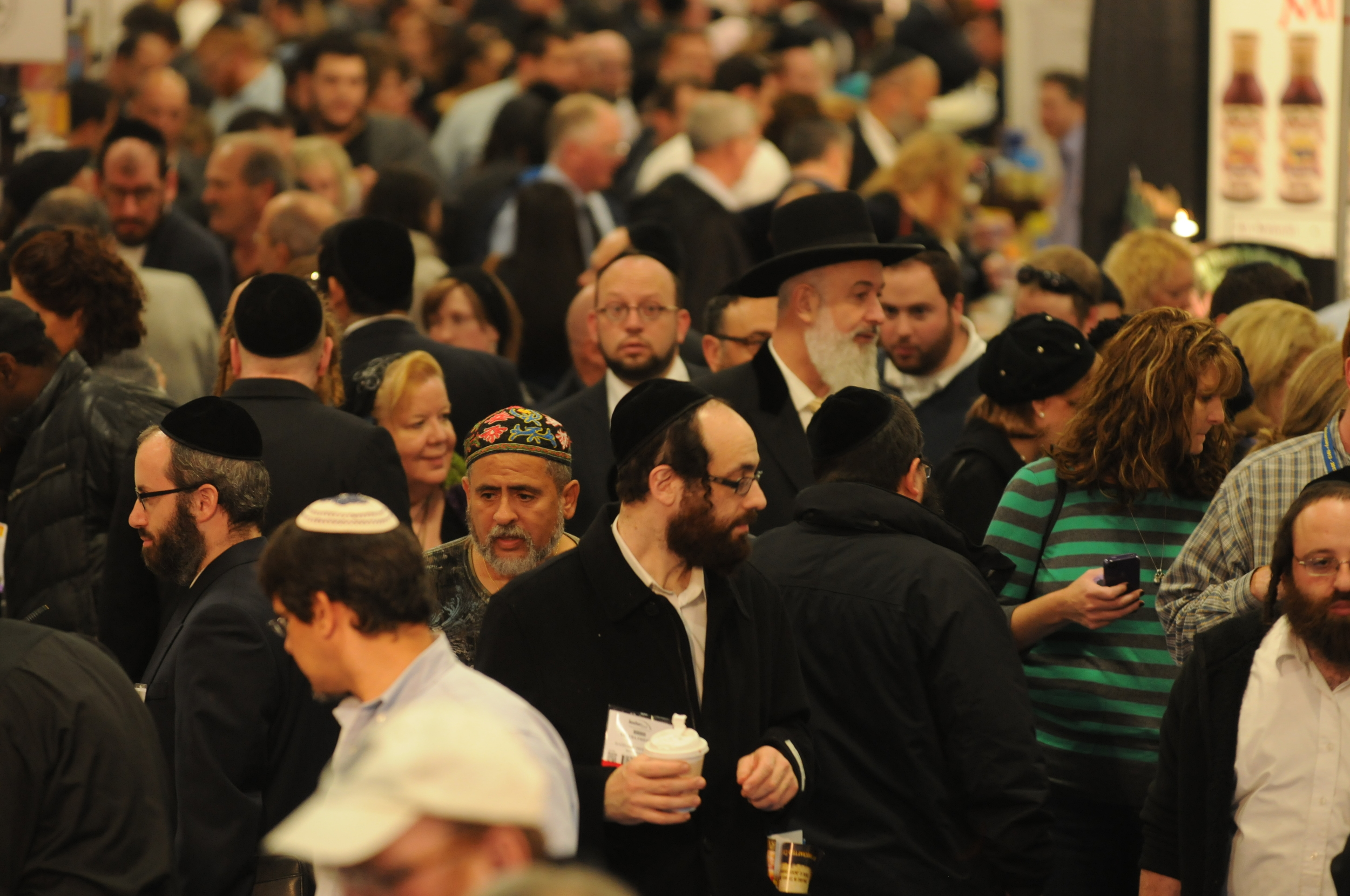 Click photo to download. Caption: The crowd at Kosherfest 2012, including Israeli chief rabbi Yona Metzger (wearing hat, near center). Credit: Levy/The Eelpond Photo Group.
