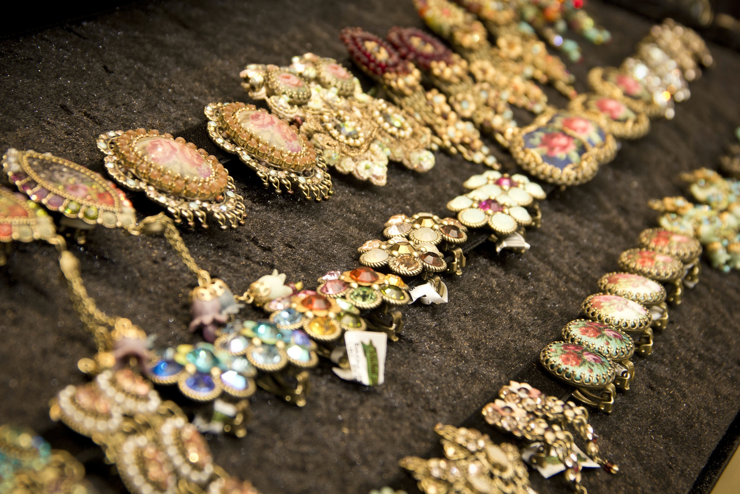 Click photo to download. Caption: Michal Negrin costume jewelry at the Israeli company's new store in Paramus, NJ. Credit: Michal Negrin.