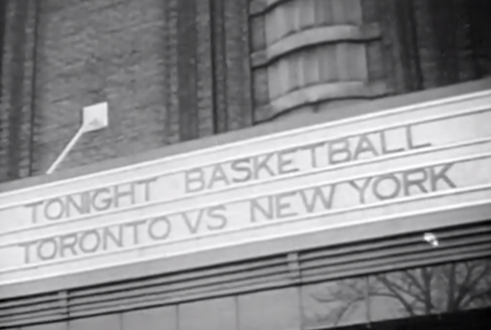 Click photo to download. Caption: Outside Maple Leaf Gardens in Toronto on Nov. 1, 1946, the night the Toronto Huskies and New York Knicks played the first game in Basketball Association of America—later the NBA—history. Ossie Schectman scored the first basket in that game. Credit: The First Basket.