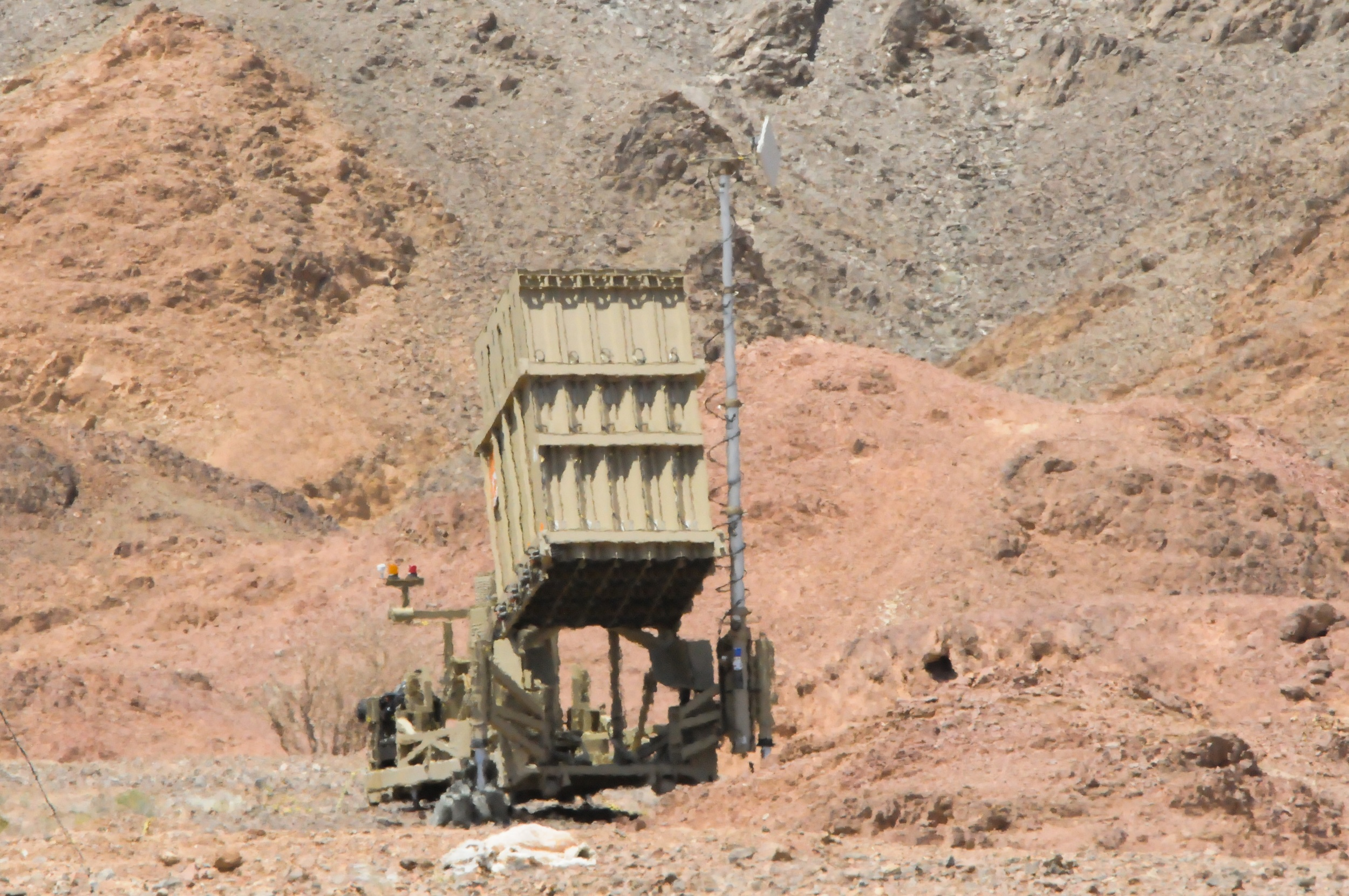 Click photo to download. Caption: The Iron Dome battery in Eilat, which on Tuesday intercepted a rocket launched by a Palestinian terrorist group for the first time. Credit: Flash90.