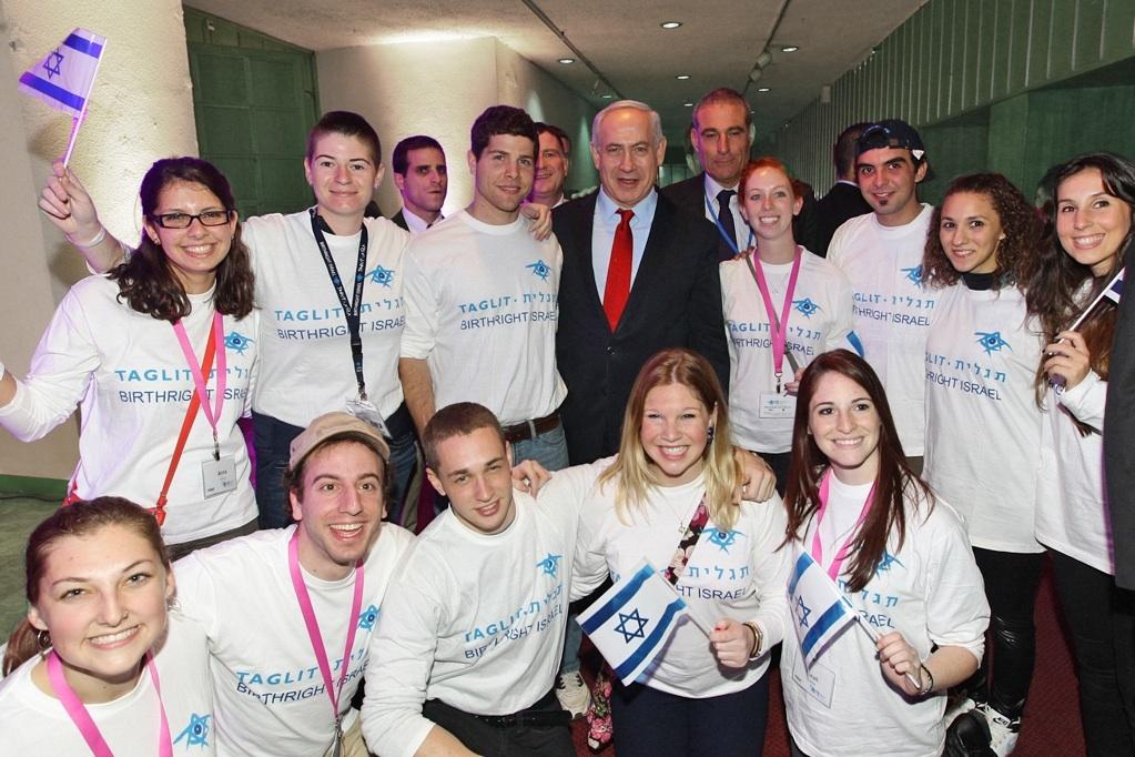 Click photo to download. Caption: Taglit-Birthright Israel trip participants with Prime Minister Benjamin Netanyahu. Credit: Taglit-Birthright Israel.