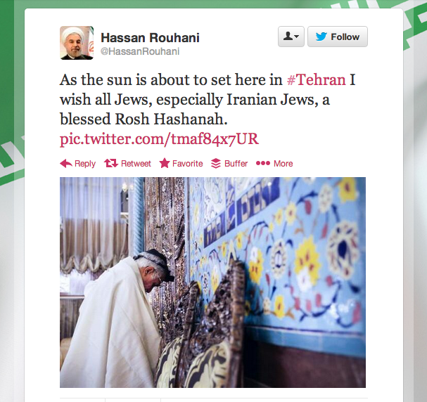 A tweet that included a Rosh Hashanah message from Iranian President Hassan Rouhani to Jews. Iran has denied that Rouhani sent the message. Credit: Twitter.