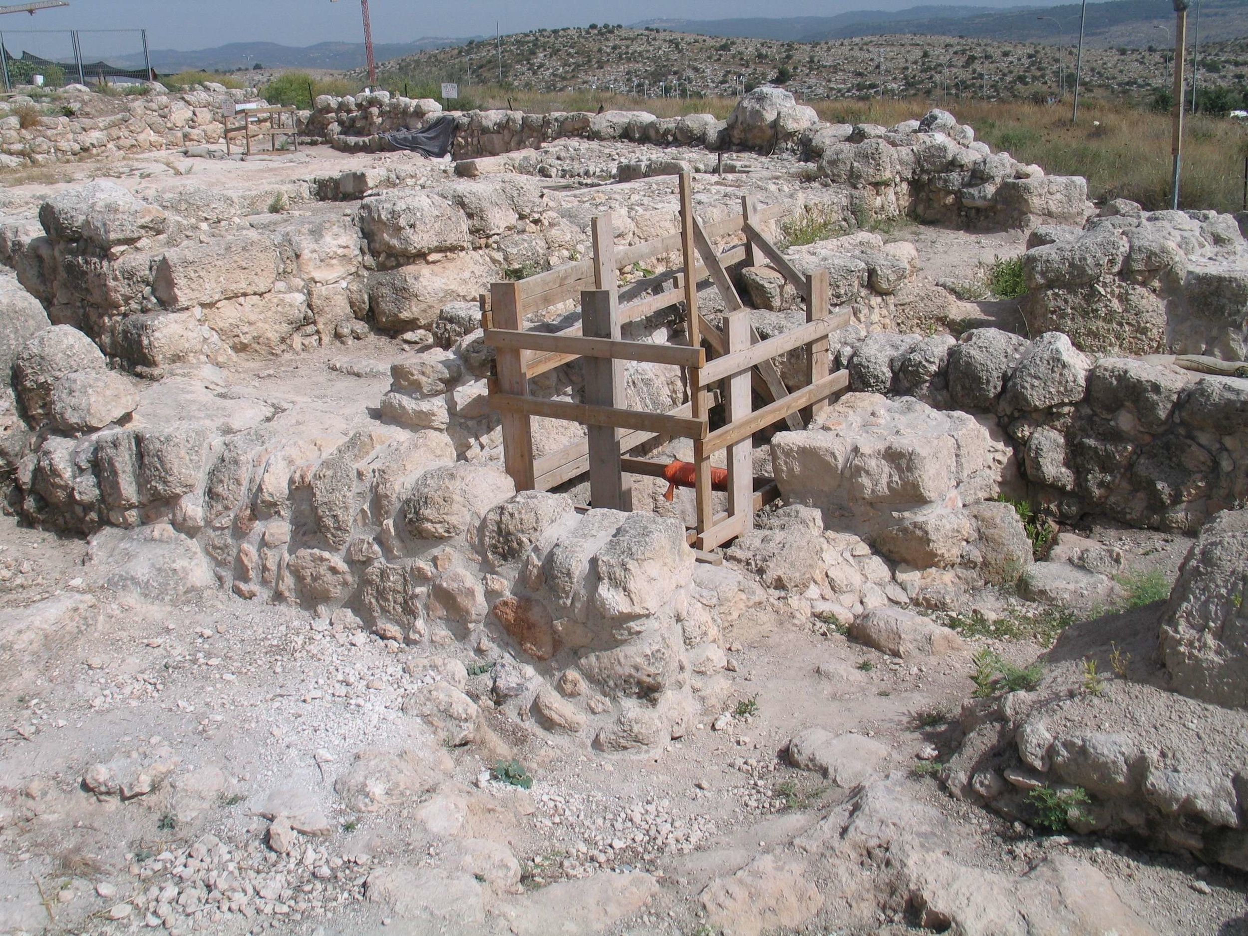 Click photo to download. Caption:in Modi'in, remains of the Umm el-Umdan (Mother of Pillars in Arabic) synagogue, which was built in the Hasmonean period.The structure, located near the Buchman neighborhood on the Modi'in-Latrun road, closely resembles other renowned Second Temple-period synagogues, such as those at Masada, Herodium, and Gamla, that have all become major tourism sites. Credit:Bukvoed via Wikimedia Commons.