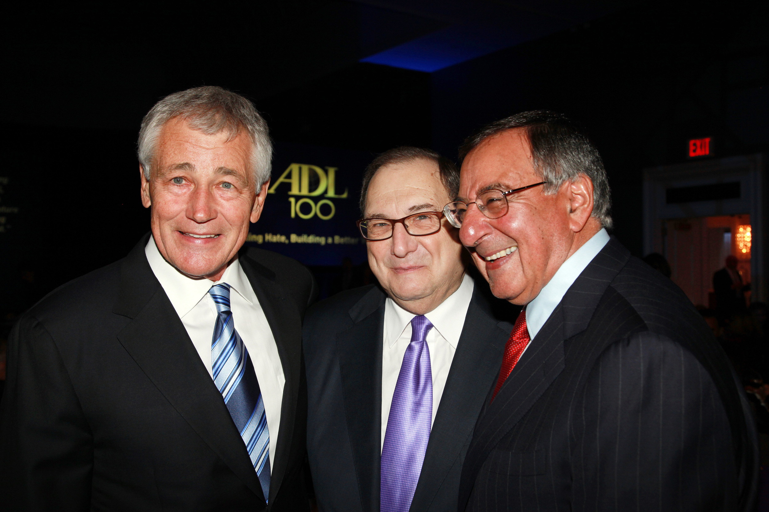Click photo to download. Caption: From left to right: Chuck Hagel, U.S. Secretary of Defense; Abraham H. Foxman, National Director of the Anti-Defamation League; and Leon Panetta, former CIA Director and Defense Secretary, pictured at a recent Anti-Defamation League dinner honoring Panetta. Credit: David Karp.