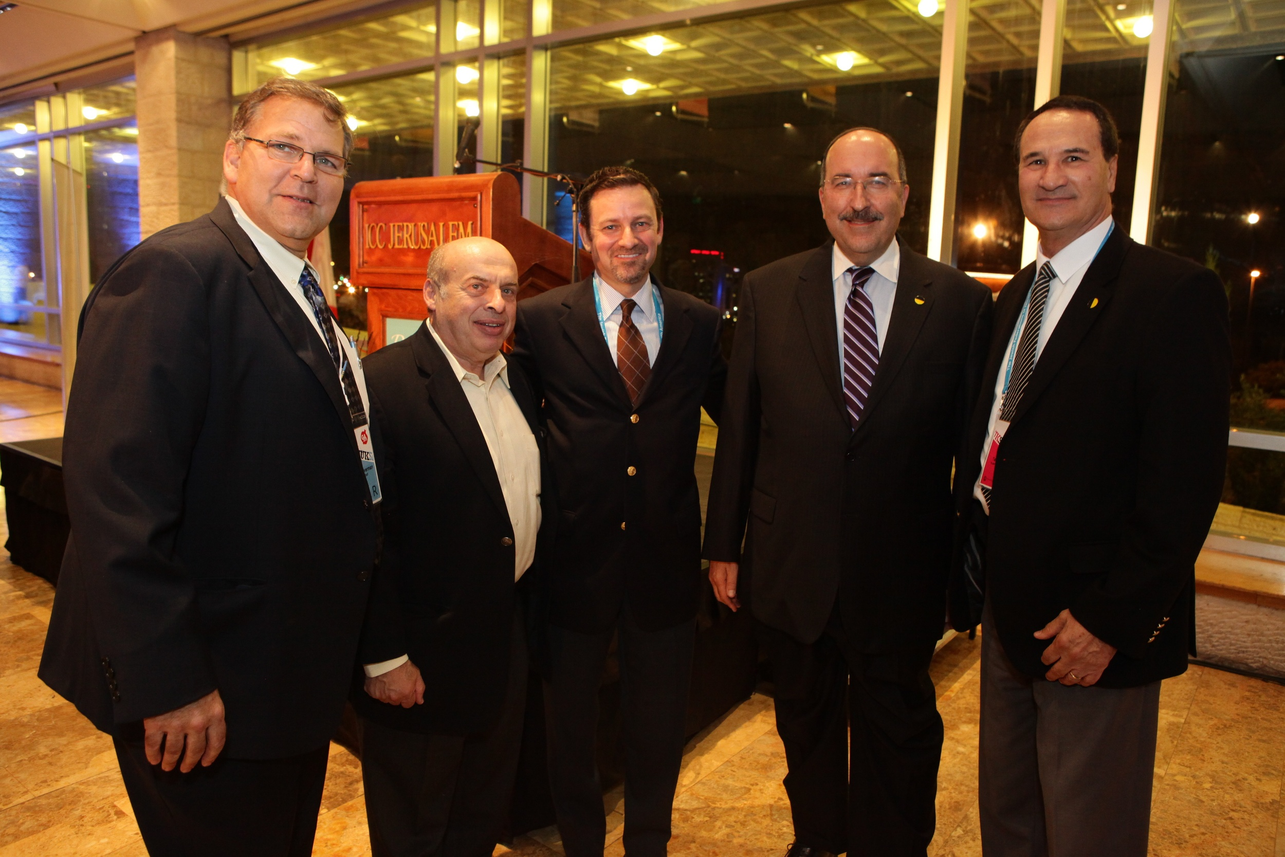 From left to right, at the Ruderman Family Foundation's reception before the Jewish Federations of North America (JFNA) General Assembly: Jerry Silverman, CEO of JFNA; Natan Sharansky, Chairman of the Jewish Agency for Israel; Jay Ruderman, president of the Ruderman Family Foundation; Dr. Dore Gold, former Israeli Ambassador to the UN, and Tal Brody, former Israeli basketball star and current Goodwill Ambassador of Israel. Credit: Yissachar Ruas.