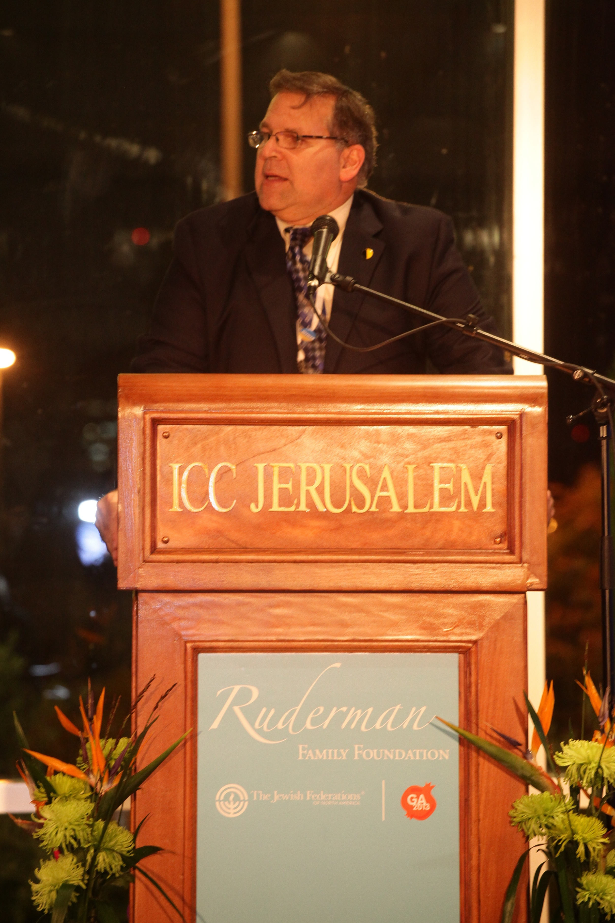Click photo to download. Caption: Jerry Silverman, CEO of the Jewish Federations of North America (JFNA), speaks at the Ruderman Family Foundation's reception before the JFNA General Assembly in Jerusalem. Credit: Yissachar Ruas.